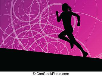 抽象的, 動くこと, イラスト, シルエット, ベクトル, 背景, 活動的, 運動競技, スポーツ, 女性