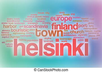抽象的, 単語, 雲, 背景, ヘルシンキ
