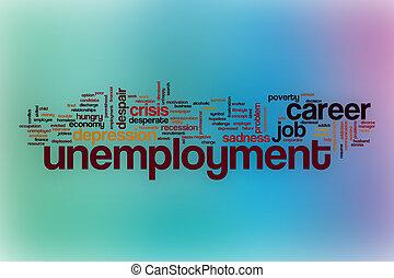 抽象的, 単語, 雲, 背景, 失業