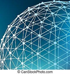 抽象的, 噛み合いなさい, polygonal, バックグラウンド。, 範囲, の, ライン, そして, dots.,...
