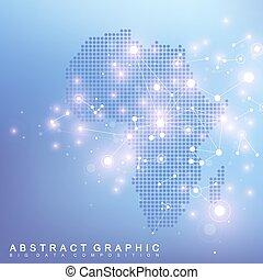 抽象的, 地図, の, アフリカ, 国, 世界的なネットワーク, connection., ベクトル, 背景, 技術, 未来派, plexus