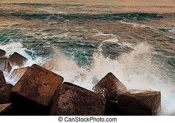 抽象的, 壊れる, 堤防, 波
