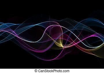 抽象的, 多彩, 波