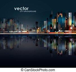 抽象的, 夜, 都市, 背景, シルエット