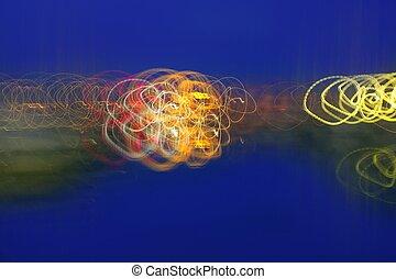 抽象的, 夜, blurry, カラフルである, lighs, 上に, 青