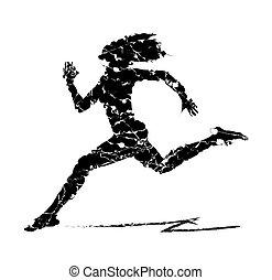 抽象的, 女性が走る