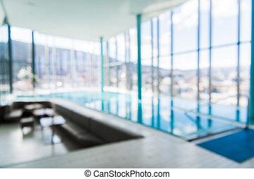 抽象的, 屋内, 贅沢, 背景, ぼやけ, プール, 水泳