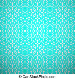 抽象的, 幾何学的, seamless, pattern., アクア色, そして, 白, スタイル