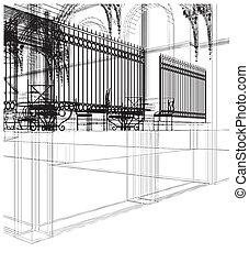 抽象的, 建築物, 門