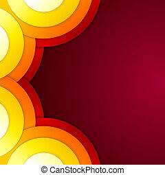 抽象的, 形, 黄色, ペーパー, オレンジ, ラウンド, 赤
