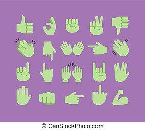 抽象的, 手, ハロウィーン, コレクション, emoji