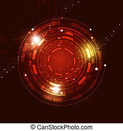 抽象的, 技術, 円, 背景