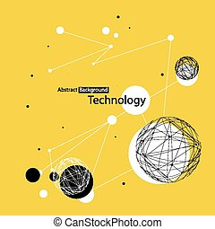 抽象的, 技術, 黄色の背景
