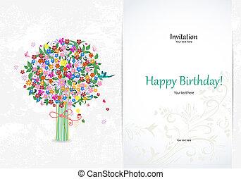 抽象的, 招待, 木, カード, お祝い