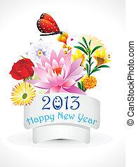 抽象的, 新年, 花, セット