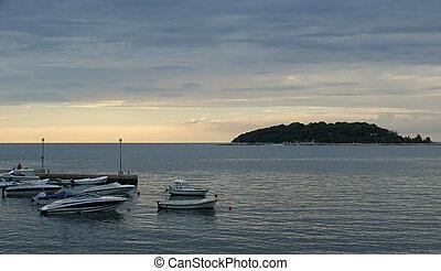 抽象的, 日没, 背景, 海洋