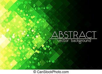 抽象的, 明るい, 緑の背景, 格子, 横