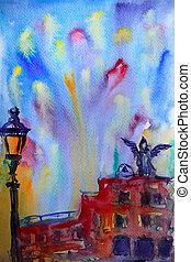 抽象的, 映像, の, ∥, castel sant angelo, 中に, ローマ, ペイントされた, によって, watercolor.