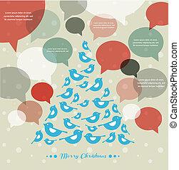 抽象的, 木, ベクトル, スピーチ, 泡, クリスマス