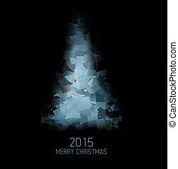 抽象的, 木, ベクトル, 緑, クリスマスカード