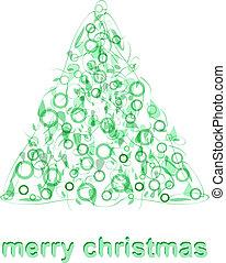 抽象的, 木, 挨拶, ベクトル, 緑, クリスマスカード