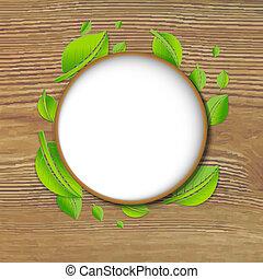 抽象的, 木, 緑, 背景, 旗, 葉