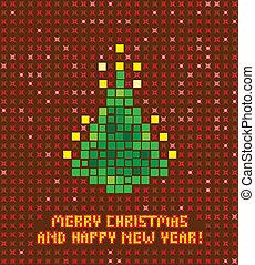 抽象的, 木, 隔離された, イラスト, ピクセル, クリスマス
