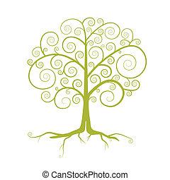 抽象的, 木, 隔離された, イラスト, ベクトル, 緑の背景, 白