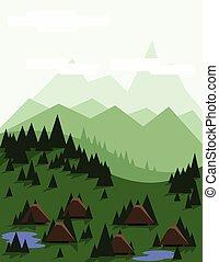 抽象的, 木, 風景, 松