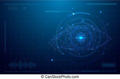抽象的, 未来派, デジタル, 目, scanner., 概念, の, 技術, セキュリティー, 上に, 青い背景