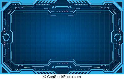 抽象的, 未来派, プレゼンテーション, パネル, (frame), 技術, ディスプレイ