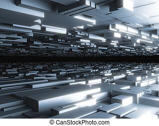 抽象的, 未来派, 背景, ∥で∥, 白熱, ブロック, 高く, 品質, 3d, render