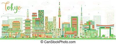 抽象的, 東京, スカイライン, ∥で∥, 色, 建物。