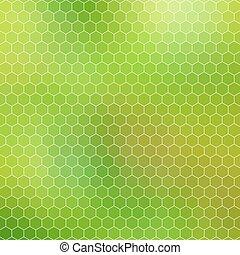 抽象的, -, 格子, 緑, 幾何学的, 六角形, ハチの巣