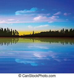 抽象的, 森林, 背景, 湖