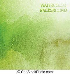 抽象的, 水彩画, ベクトル, デザイン, 背景, 緑, あなたの