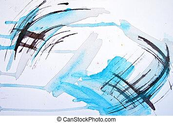 抽象的, 水彩画, 手, ペイントされた, ぼやけ, 背景