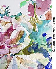 抽象的, 水彩画, 手, 絵, 背景