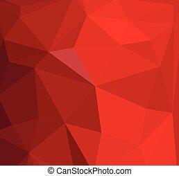 抽象的, 水晶, ベクトル, 赤い背景, 三角形