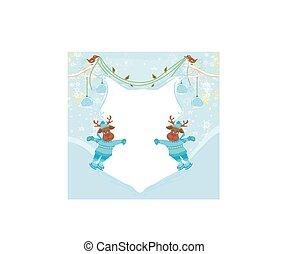 抽象的, -, 氷, クリスマス, トナカイ, スケート, フレーム, スカーフ