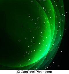 抽象的, 波状, 緑の背景