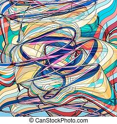 抽象的, 波状, 背景