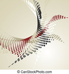 抽象的, 波状, 背景, halftone