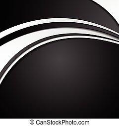 抽象的, 波状, 黒い背景, 白, 企業である