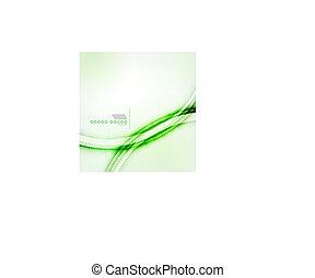抽象的, 波, ベクトル, 緑の背景, 影
