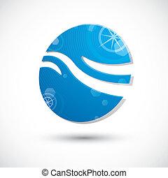抽象的, 波, 水, ベクトル, アイコン, アイコン, シンボル, 3d