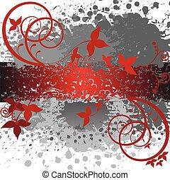 抽象的, 灰色, そして, 赤い背景