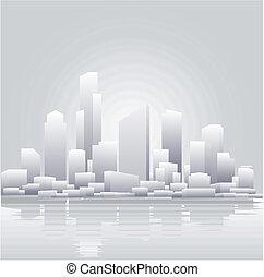 抽象的, 灰色, 都市, 背景