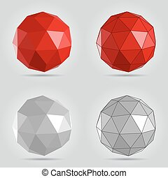 抽象的, 灰色, poly, 球, ベクトル, イラスト, 赤, 低い