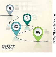 抽象的, 現代, ペーパー, 位置, 印, infographic, 要素